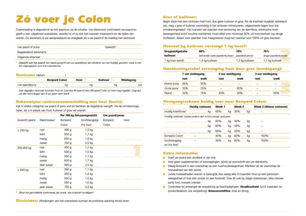 voerschema Bonpard Colon